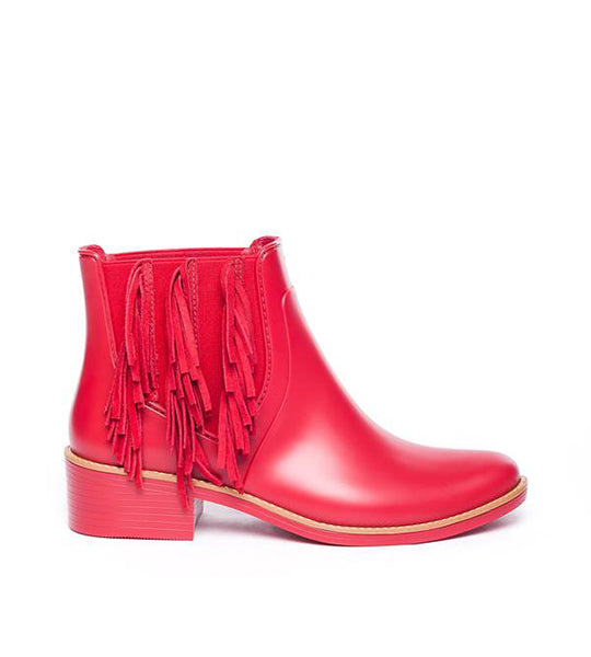 Penney Fringe Rain Boot in Red