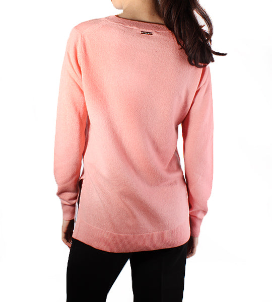 Pink V Neck Cashmere Sweater