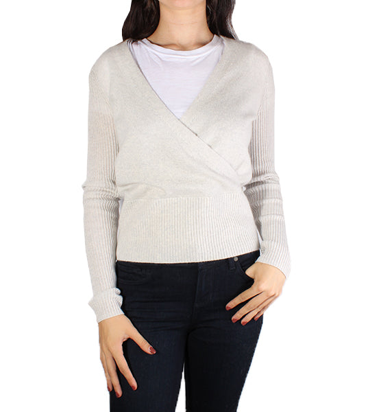 Ribbed Sleeve Wrap Top Platinum Heather