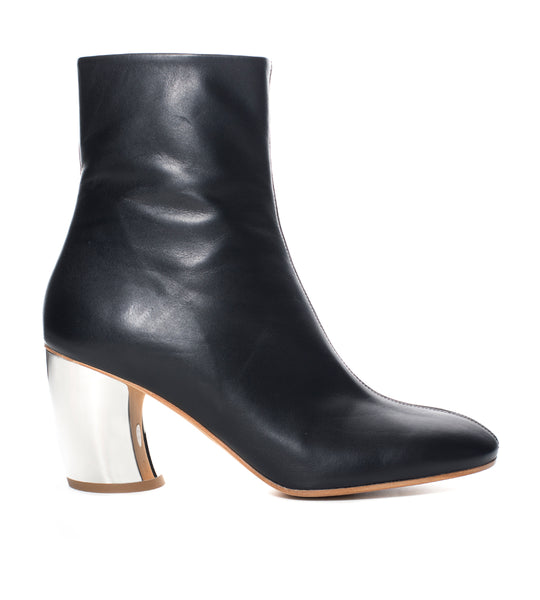 Curved Heel Bi-Material Ankle Boot
