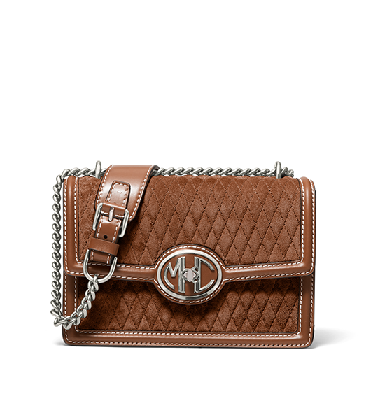 Monogramme Small Quilted Suede Chain Shoulder Bag
