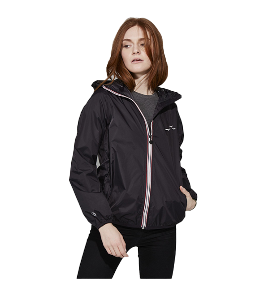 Full-Zip Packable Rain Jacket - Black