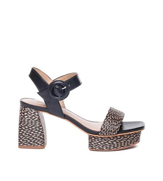 Reagan Leather and Raffia Sandal Black