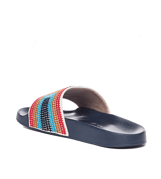 Reese Slide - Embroidered Navy Multi