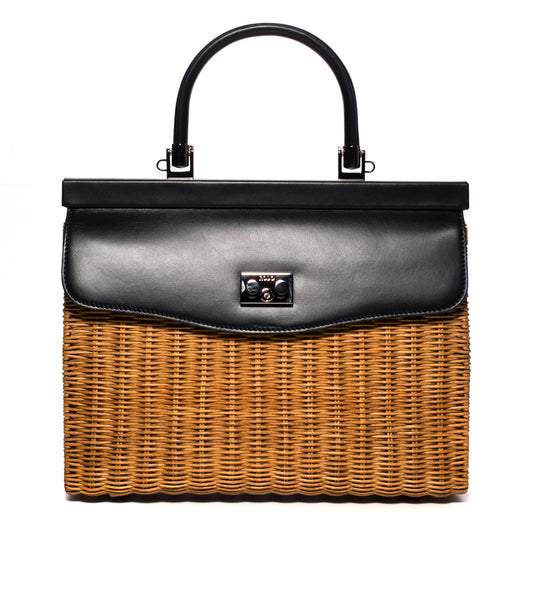 Wicker Satchel Black