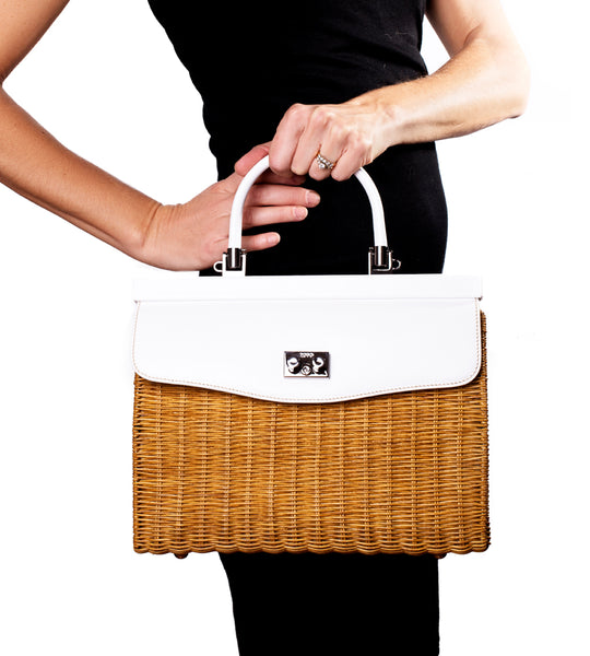 Wicker Satchel White