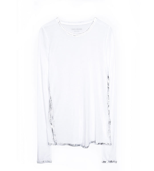 Willy White/Silver Foil Long Sleeve Tee