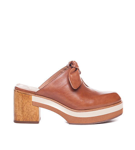 Sadie Heeled Mule - Brown Leather