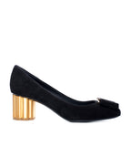 Salvatore Ferragamo Flower Heel Pumps - TheSeptember.com
