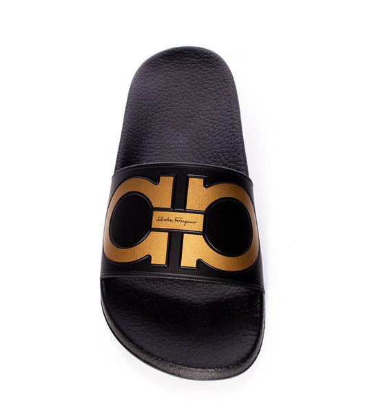 Salvatore Ferragamo Black Pool Slide - TheSeptember.com