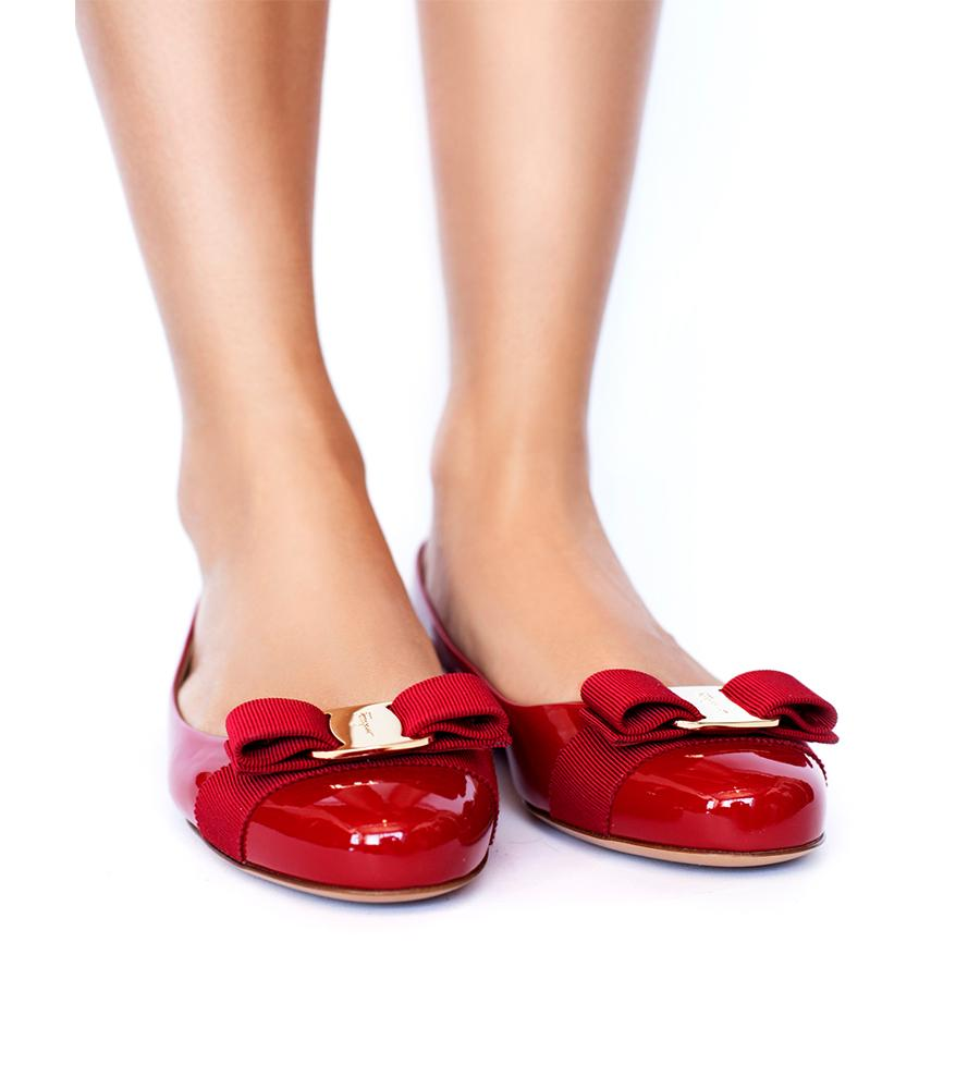 9bcb6fd3a2ec9 ... Salvatore Ferragamo Varina Patent Leather Flat with Bow Red -  TheSeptember.com