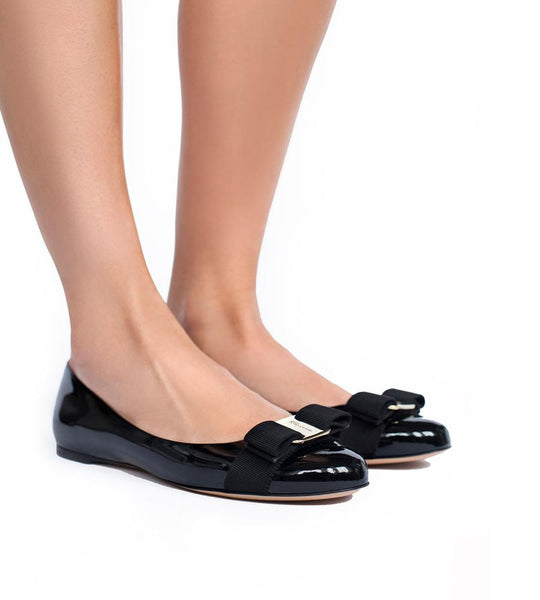 Varina Patent Leather Flat with Bow Black