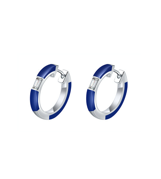 Camilla Blue Ceramic Diamond Huggie Earrings
