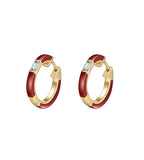 Camilla Red Ceramic Diamond Huggie Earrings