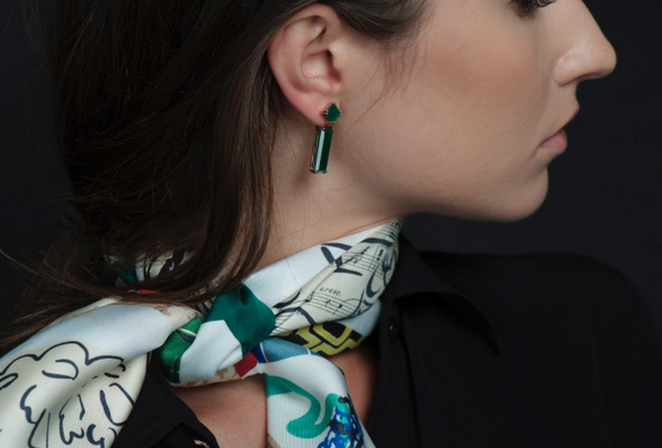 Sophia Green Agate Earrings + Marilyn Earring Extenders