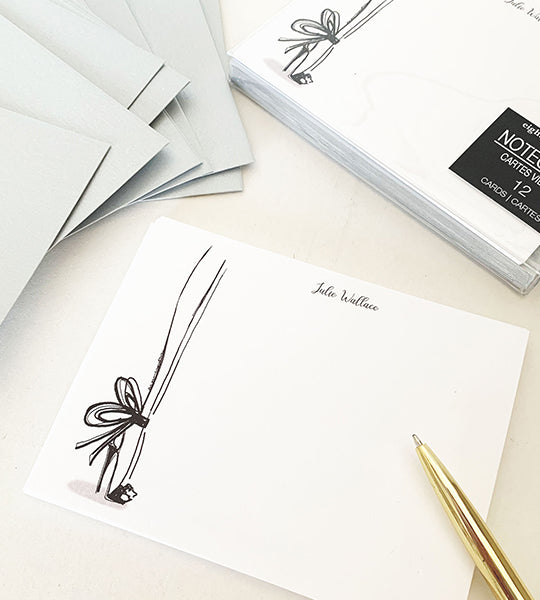 Personalized Notecards Bow Heels