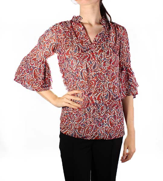 Lush Paisley Bell Sleeve Top