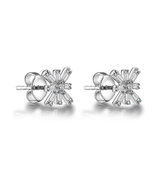 Star Baguette Diamond Earrings