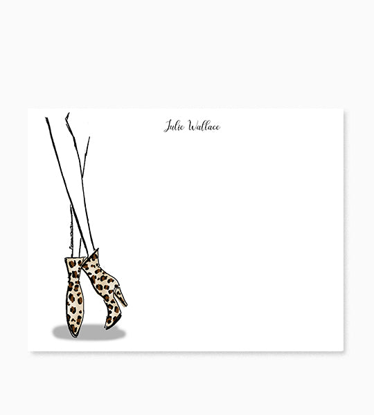 Personalized Notecards Leopard Boots