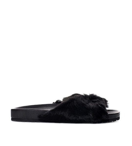Garrison Pool Slide Fur Black