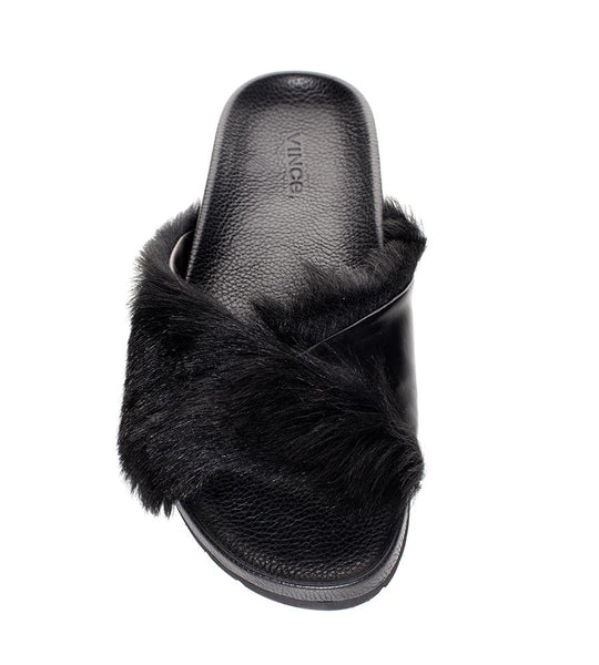 Vince Garrison Pool Slide Fur Black - TheSeptember.com