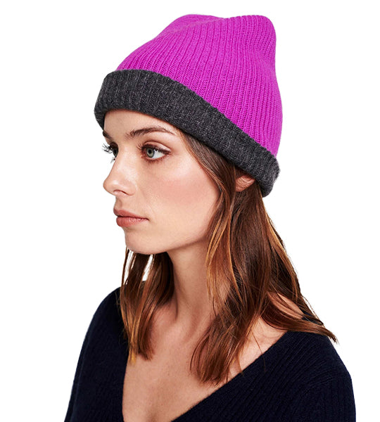 Reversible Plush Rib Beanie - Charcoal / Optimistic Pink