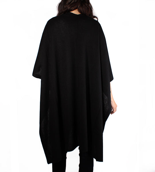 Cashmere Long Open Poncho - Black