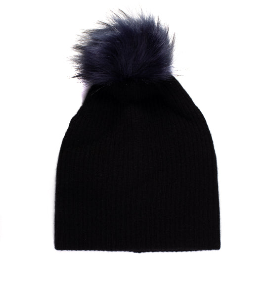 Plush Rib Beanie With Pom Pom - Black/Navy