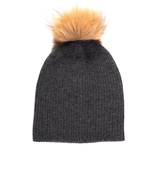 Plush Rib Beanie With Pom Pom - Shadow Heather/ Natural