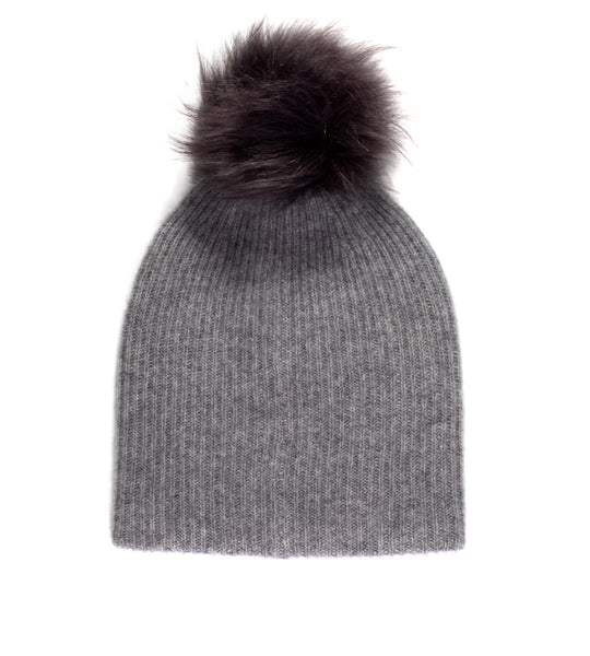 Plush Rib Beanie With Pom Pom - Smoke Heather/ Grey