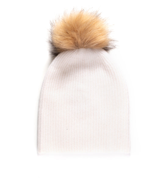 Plush Rib Beanie With Pom Pom - Vanilla/ Natural