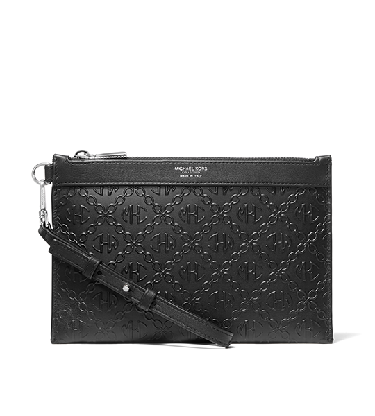 Leather Zip Wristlet Black