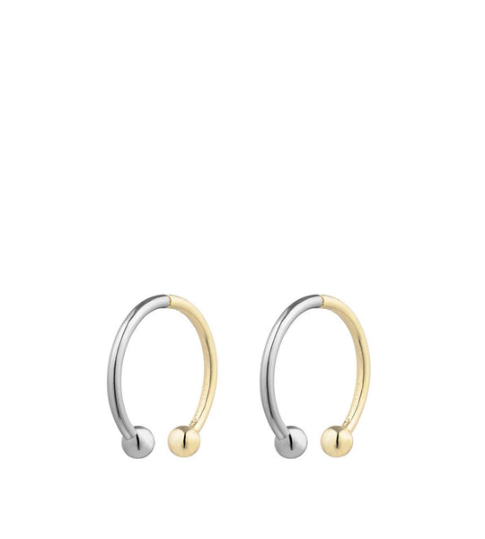 Curved Barbell Hoop Two-tone Earring