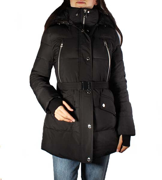 Belted Down Coat With Zip