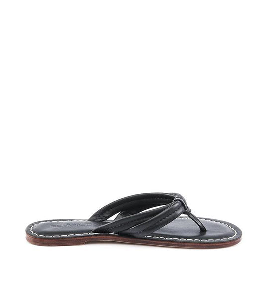 Miami Black Leather Flip Flop