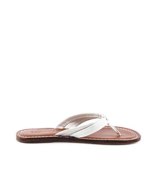 Miami White Leather Flip Flop