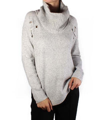 Cowl Neck Grommet High-Low Sweater
