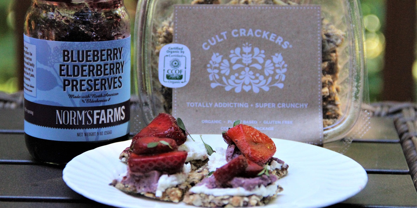 Cult Crackers with Goat Cheese, Berries and Norm's Farms Jam