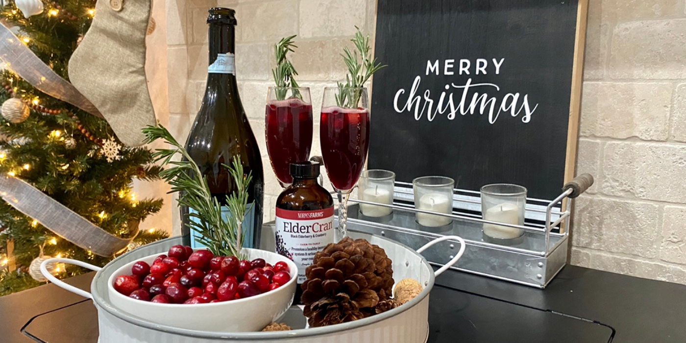 Holiday Elderberry Cranberry Mimosas