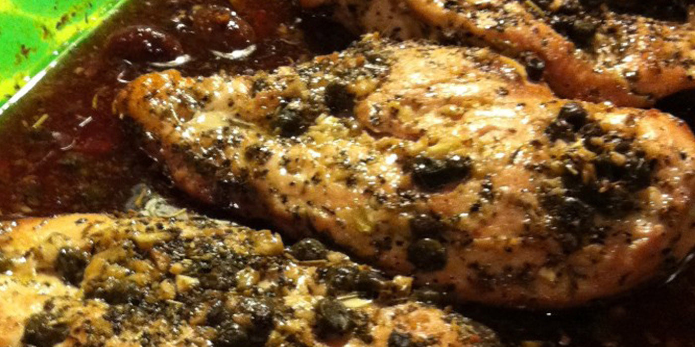 Elderberry Glazed Chicken with Olives and Capers