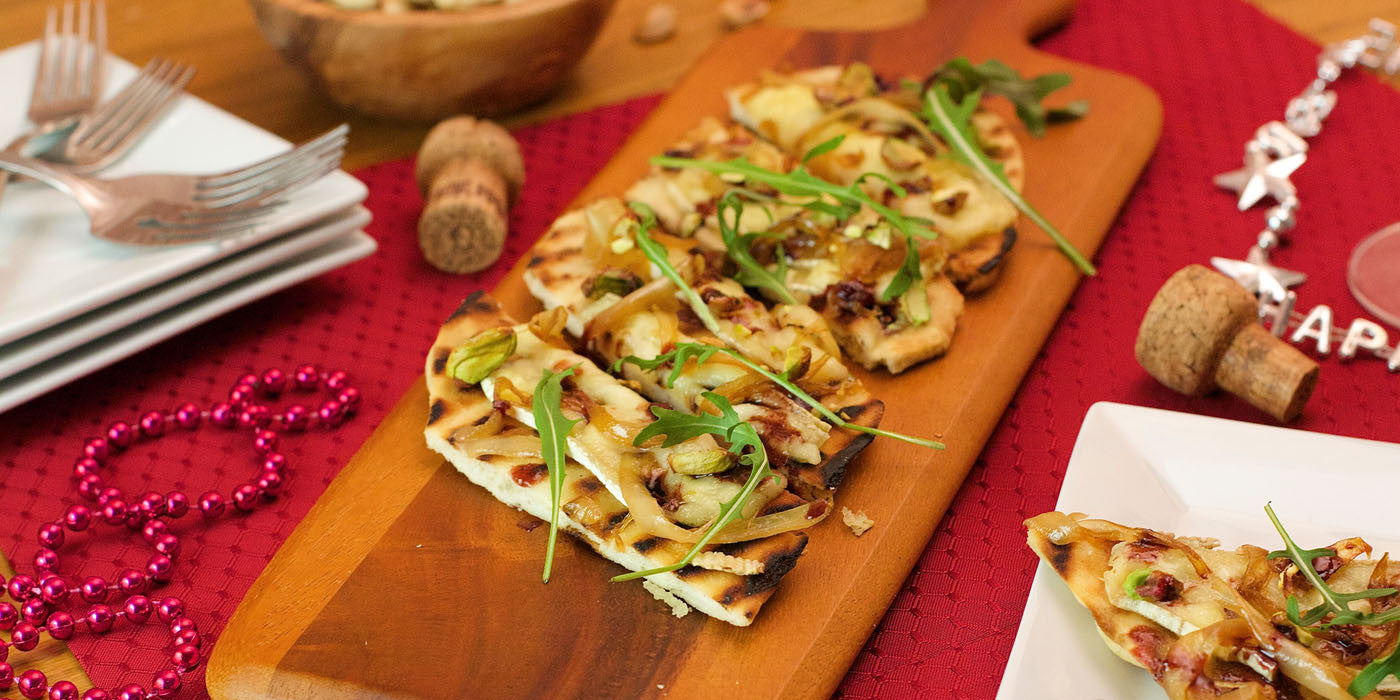 Grilled Flatbread with Brie & Elderberry-Balsamic Drizzle
