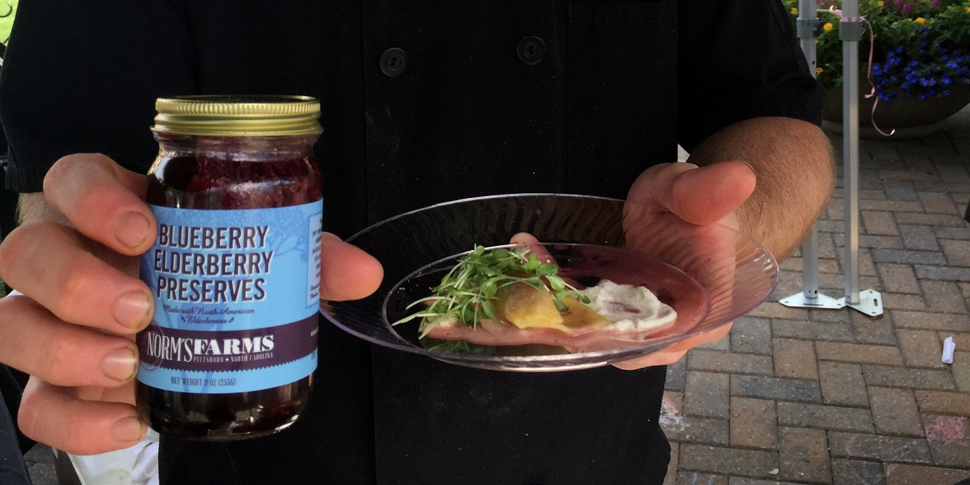 Vivace Chef Wins Iron Chef Challenge using Norm's Farms Blueberry Elderberry Preserves