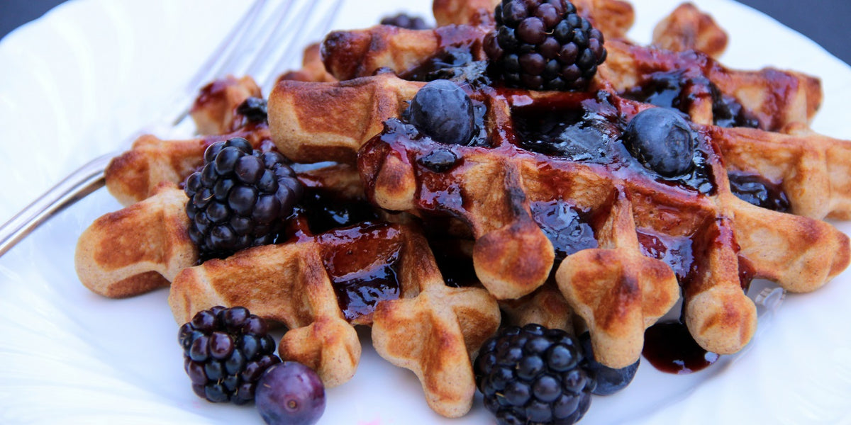 Waffles and Fresh Berries with Blueberry Elderberry Syrup