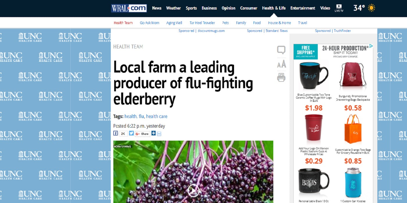 Norm's Farms and Elderberry featured on WRAL News in Raleigh, North Carolina