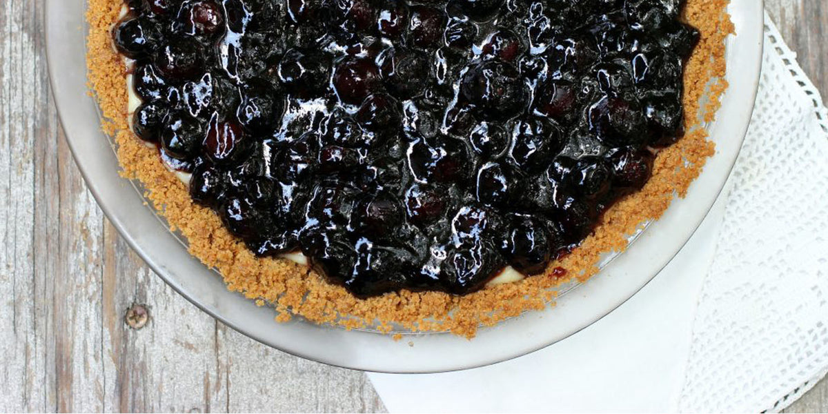 Elderflower Cream Pie with Blueberries and Elderberries