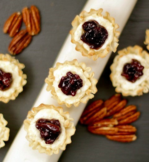 Crispy Melted Cheese Cups with Elderberry Ginger Pecan Jam