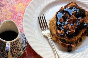 Sweet Potato Pancakes with Elderberry Ginger Pecan Syrup