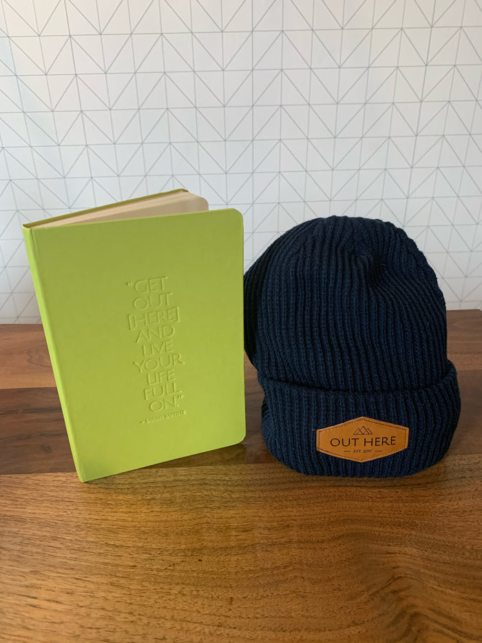 BUNDLE: Out Here Yoga Journal & OHY Patch Beanie- Navy