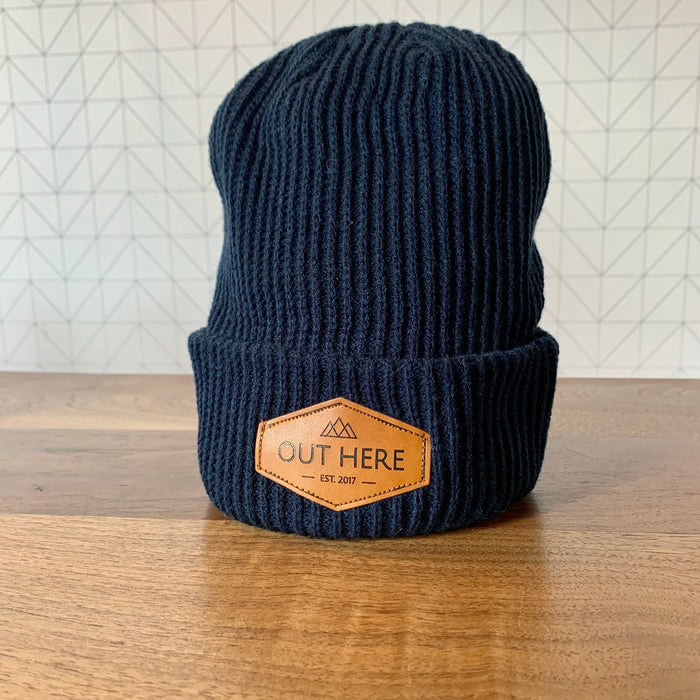 Out Here Yoga Patch Beanie- Navy