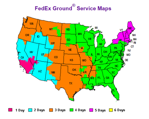FedEx Shipping Time Map